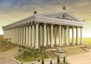 This Great Temple of Artemis of the Ephesians was located outside the city of Ephesus and was one of the seven wonders of the ancient world. This is an artist's rendition of what it probably looked like in the first century.
