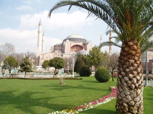 This is the Hagia Sophia, which was built in the fourth century with the help of columns from the Temple of Artemis.