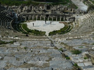 This is the Ephesian Amphitheater, still standing today, where Paul's traveling companions were brought during the riot in Acts 19.